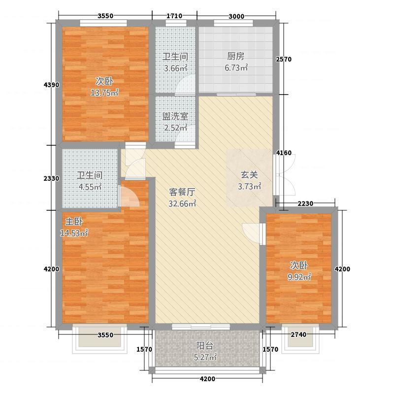 柳墅新城13.35㎡C15户型3室2厅2卫1厨