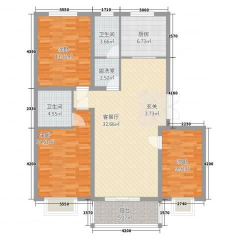 柳墅新城3室2厅2卫1厨93.59㎡户型图
