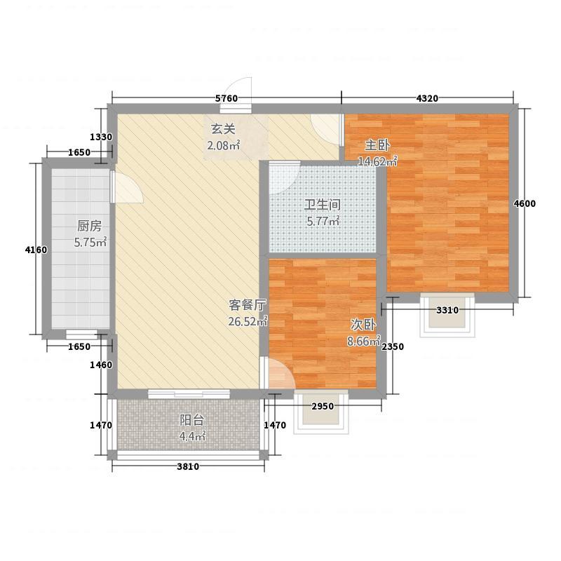 柳墅新城8.34㎡C7户型2室2厅1卫1厨