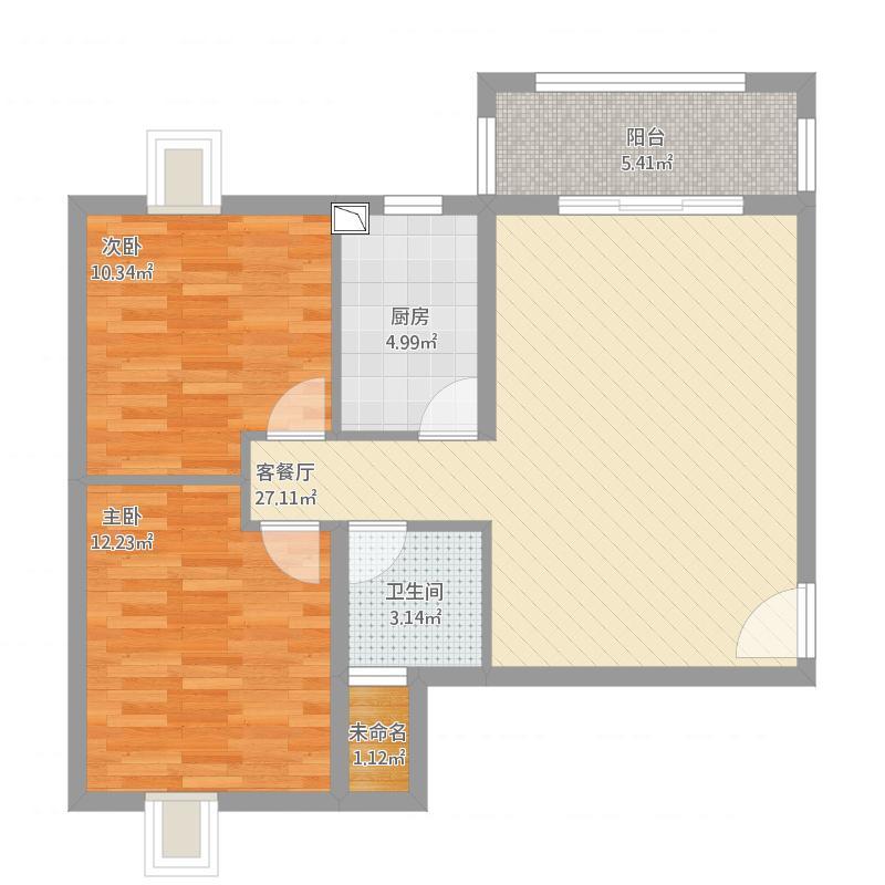 聚贤佳苑 B 1 两室两厅 83