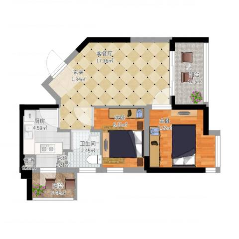 碧桂园十里金滩2室1厅3卫1厨67.00㎡户型图