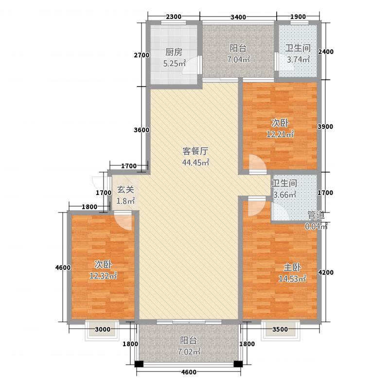 金域蓝湾152.30㎡A区东座户型3室2厅2卫1厨