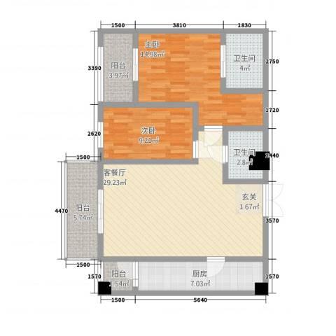 中力广场2室1厅2卫1厨78.49㎡户型图