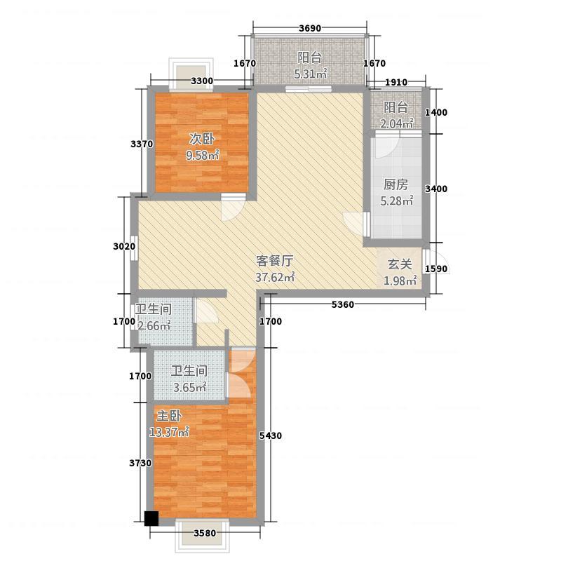 建业・阿里阳光15.68㎡A-A户型3室2厅2卫1厨