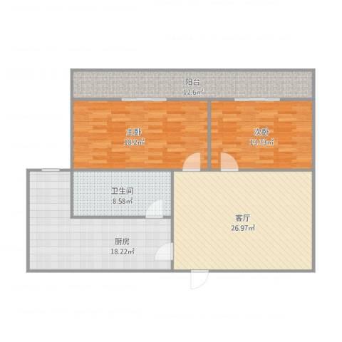 金日阳光花园2室1厅1卫1厨131.00㎡户型图