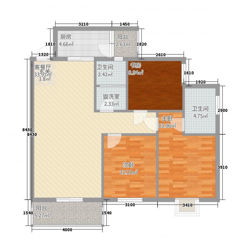 恒达华府116.33㎡J户型3室2厅2卫1厨