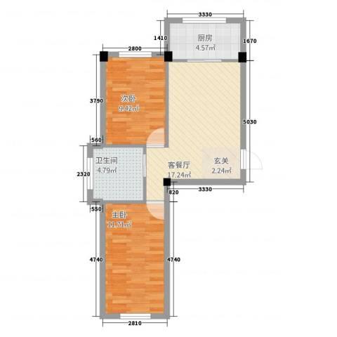 北京公园2室1厅1卫1厨68.00㎡户型图