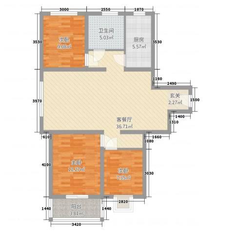 柳墅新城3室1厅1卫1厨111.00㎡户型图