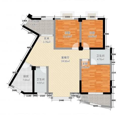 东方阁3室1厅2卫1厨2313.00㎡户型图
