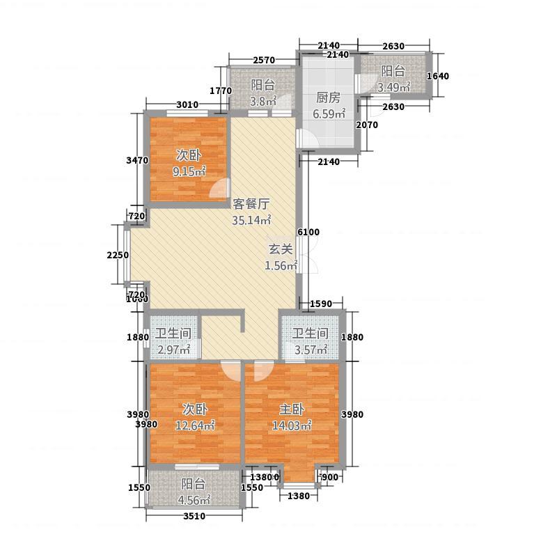 豫森・时代新城113136.20㎡户型3室2厅2卫1厨