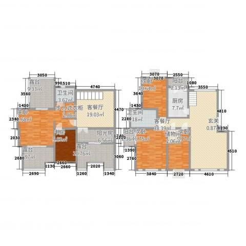 东方花城5室2厅2卫1厨213.00㎡户型图