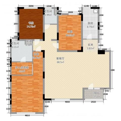 圣淘沙花园3室1厅2卫1厨221.00㎡户型图