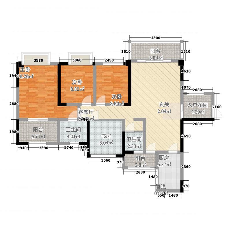 广信鹭岛14131.25㎡C1户型4室2厅2卫1厨