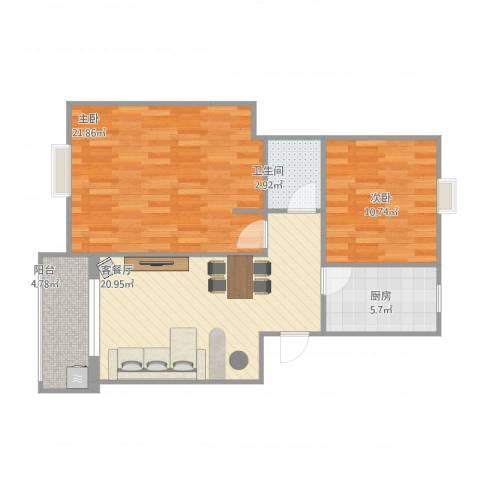 欣松苑2室1厅1卫1厨91.00㎡户型图