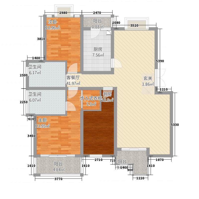 东方花城125.00㎡A3户型3室2厅2卫1厨