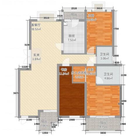 东方花城3室1厅2卫1厨102.04㎡户型图