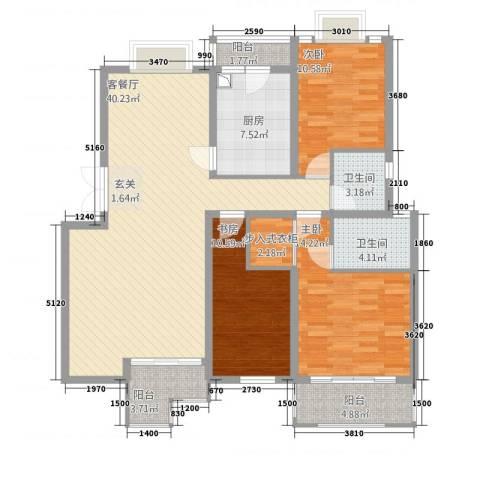 东方花城3室1厅2卫1厨103.14㎡户型图