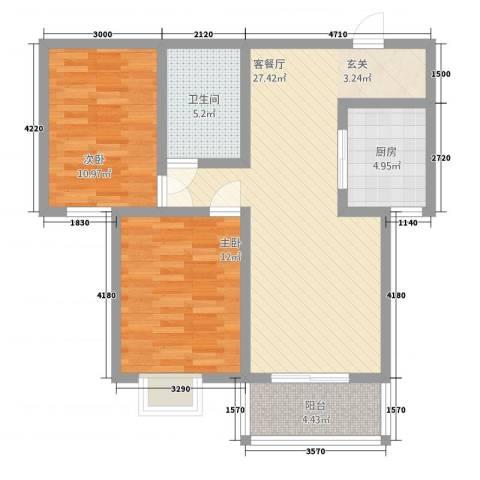 柳墅新城2室1厅1卫1厨88.00㎡户型图