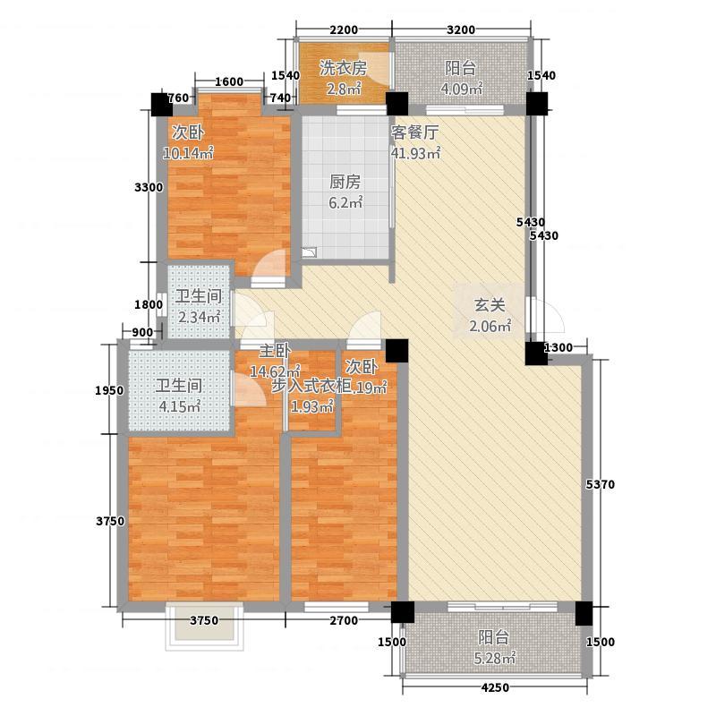 泽润龙都123.44㎡D3户型3室2厅2卫1厨