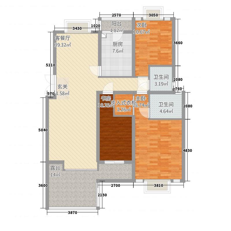 东方花城127.78㎡A2户型3室2厅2卫1厨
