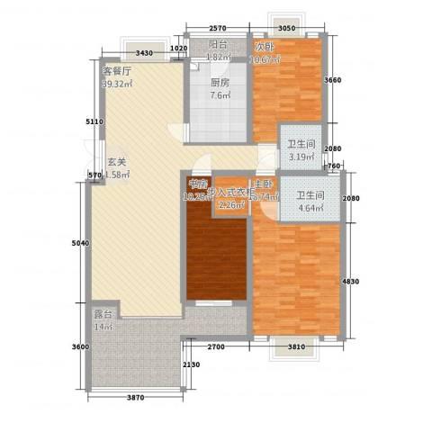东方花城3室1厅2卫1厨128.00㎡户型图