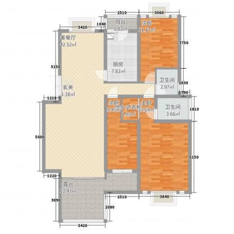 东方花城3室1厅2卫1厨137.00㎡户型图