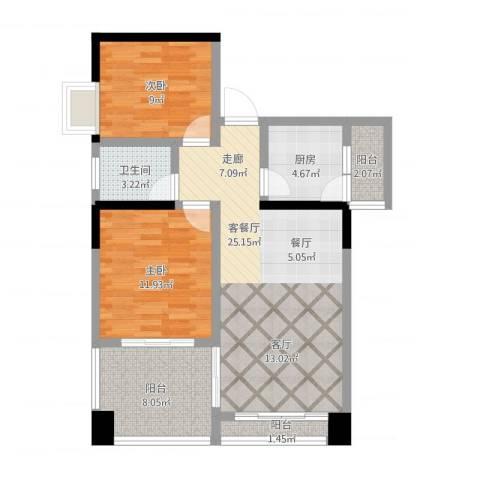 蓝色海岸国际家园2室1厅1卫1厨97.00㎡户型图