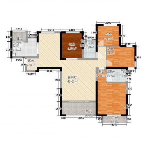 康星顿单身公寓4室1厅2卫1厨163.00㎡户型图
