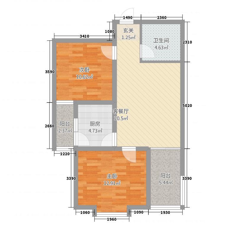 江山明珠88.00㎡C户型2室1厅1卫1厨