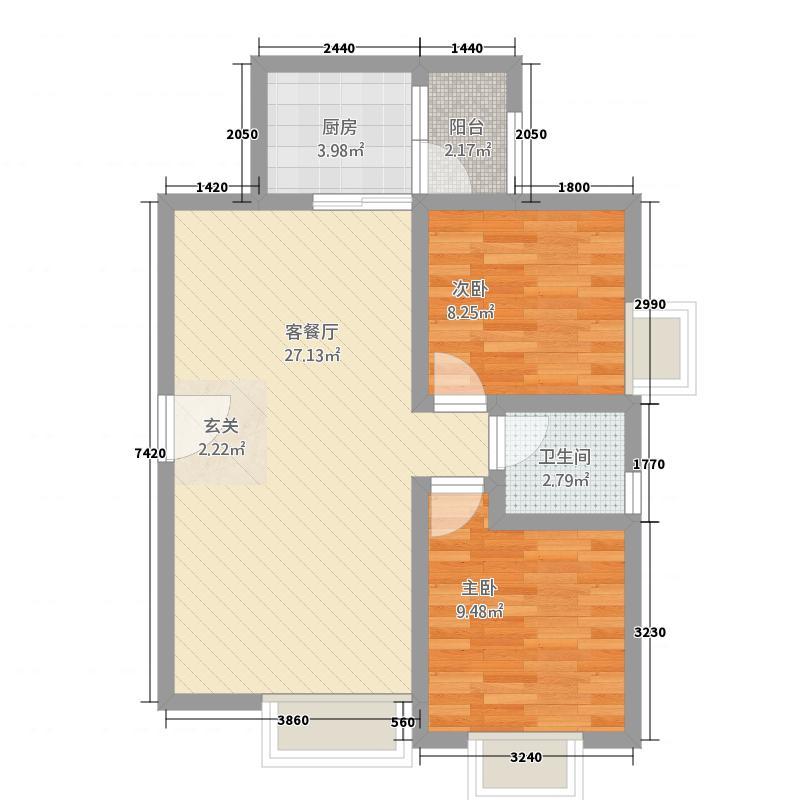 金叶绿洲74.38㎡1户型2室2厅1卫