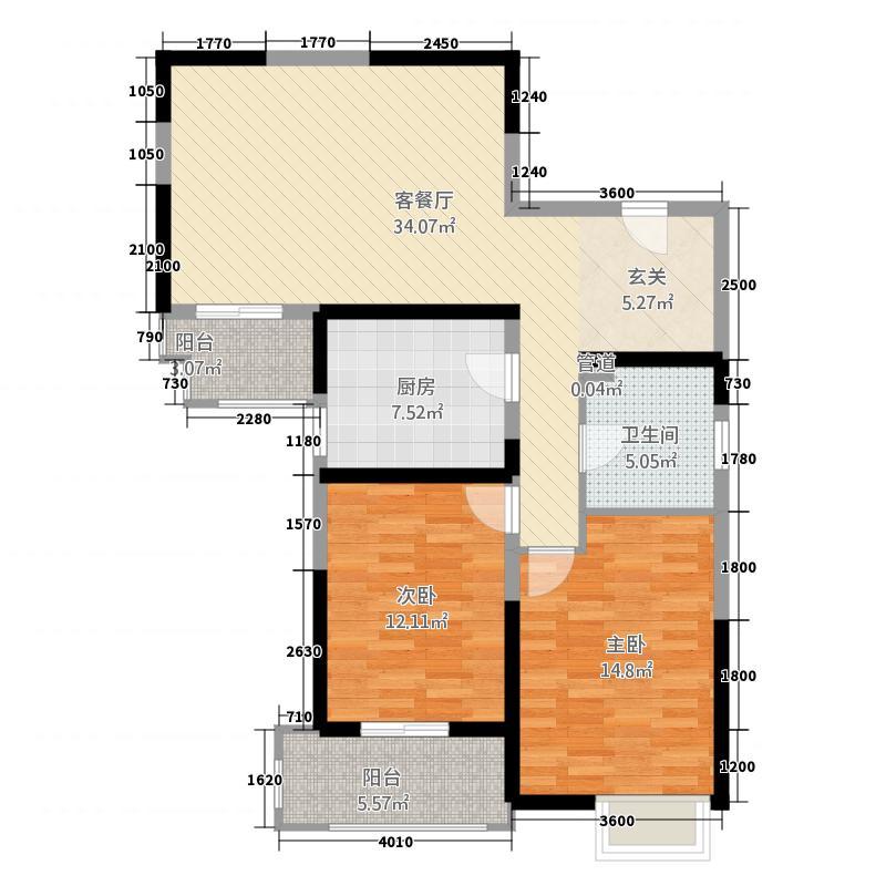 皖南商城18.32㎡05-06栋户型2室1厅1卫1厨