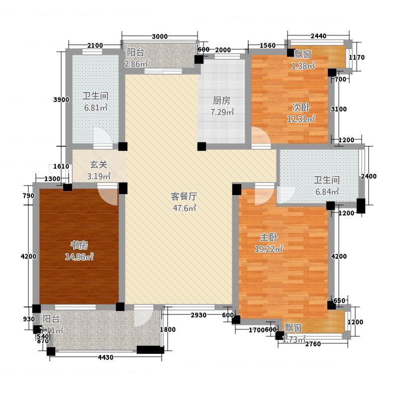 天都花园3132.62㎡户型3室2厅2卫1厨