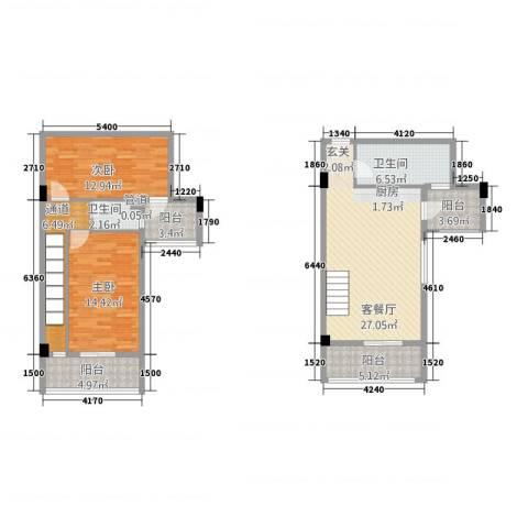 古越扬帆・城市广场2室1厅2卫0厨86.80㎡户型图