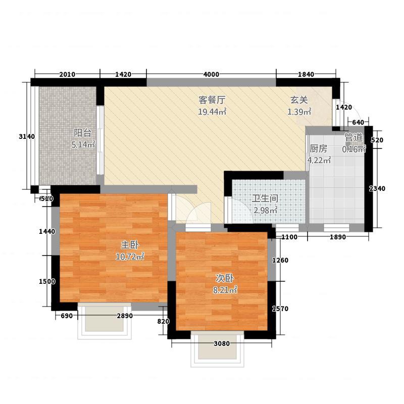 宏天绿城7.10㎡E户型2室2厅1卫1厨