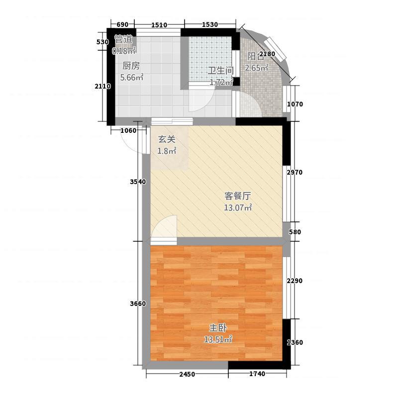 海源财富中心户型1室1厅1卫1厨