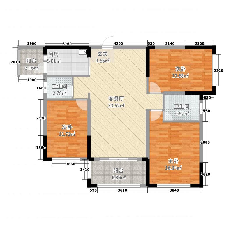 中央花园1122.22㎡1#楼1单元03号房3室户型3室2厅2卫1厨