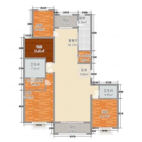 容辰庄园东区4室1厅2卫1厨157.12㎡户型图