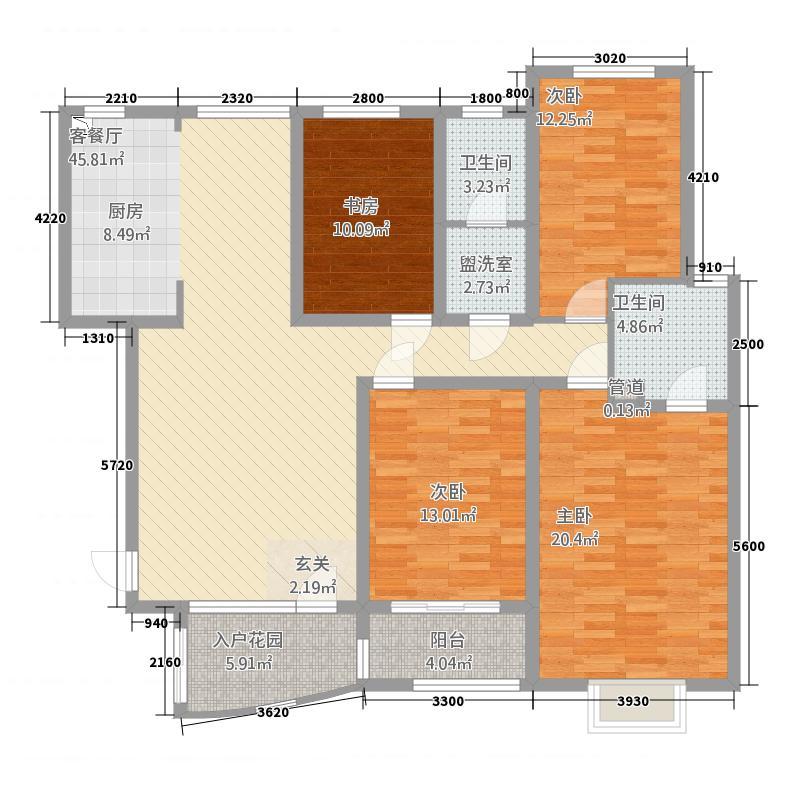 麒麟郡156.00㎡D户型4室2厅2卫1厨