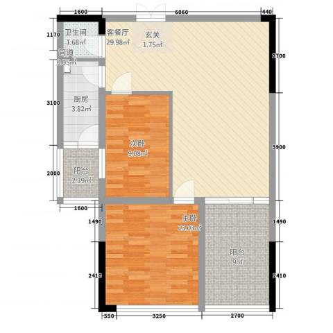 和庄2室1厅1卫1厨69.03㎡户型图