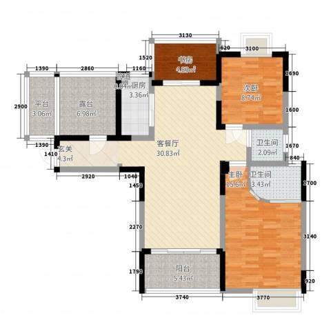 国色天香3室1厅2卫1厨118.00㎡户型图