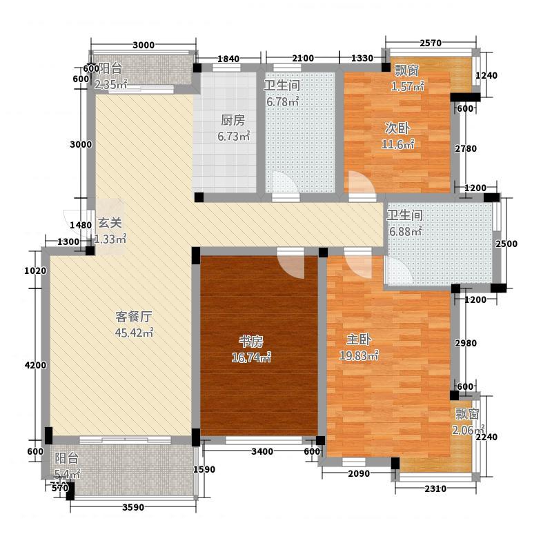 天都花园4151.61㎡户型4室2厅2卫1厨