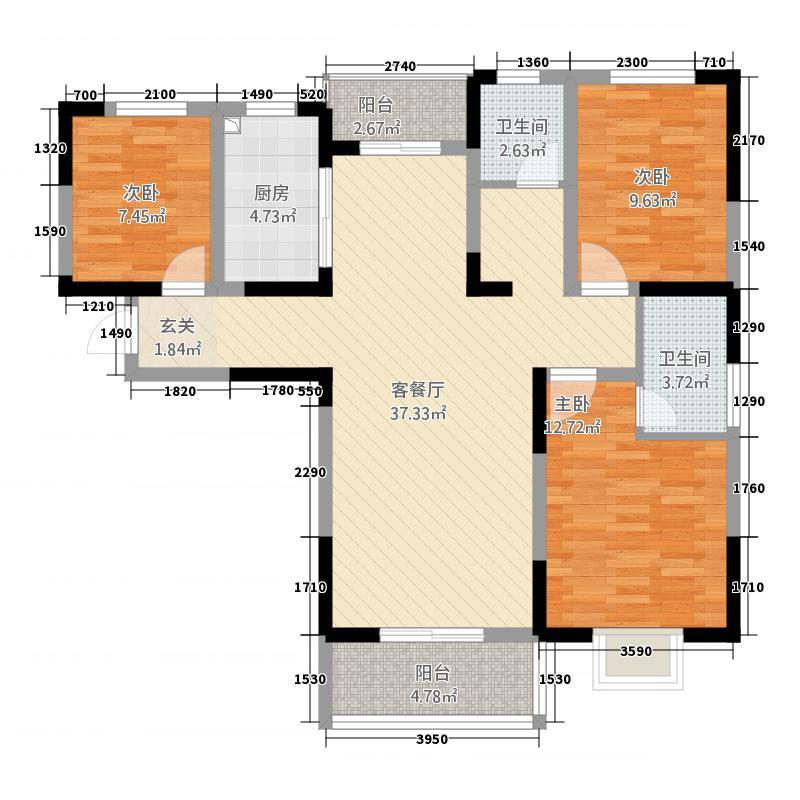 紫金华庭125.20㎡C户型3室2厅2卫1厨