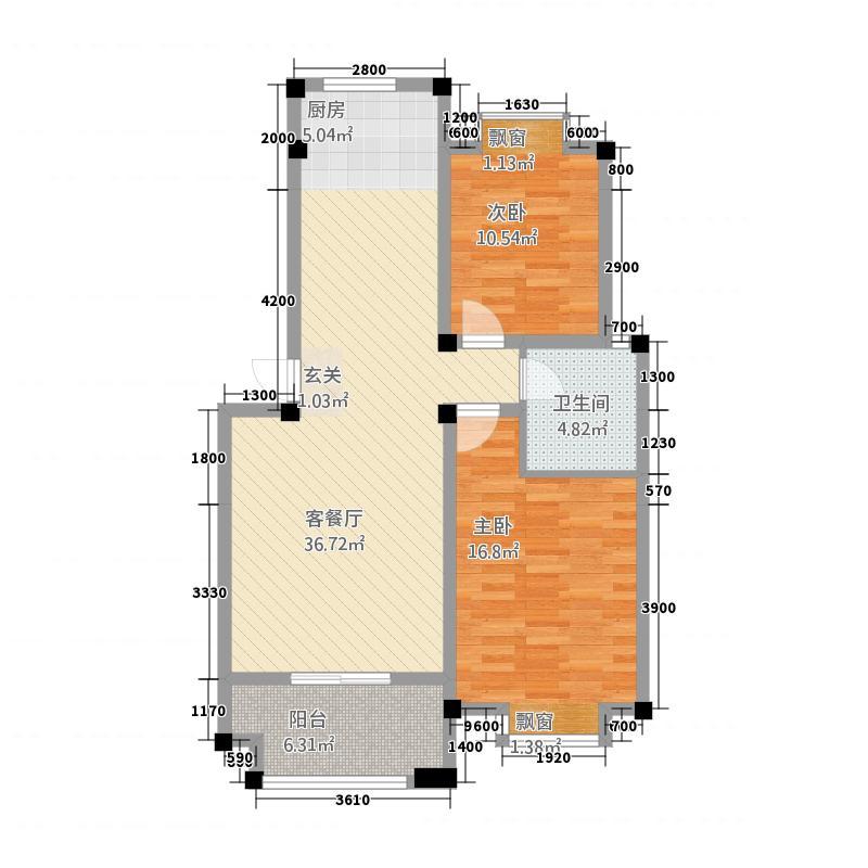 天都花园21.72㎡户型2室2厅1卫1厨