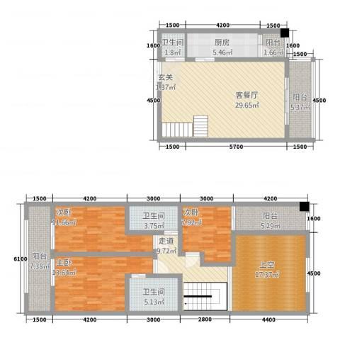 中力广场3室1厅3卫1厨125.80㎡户型图