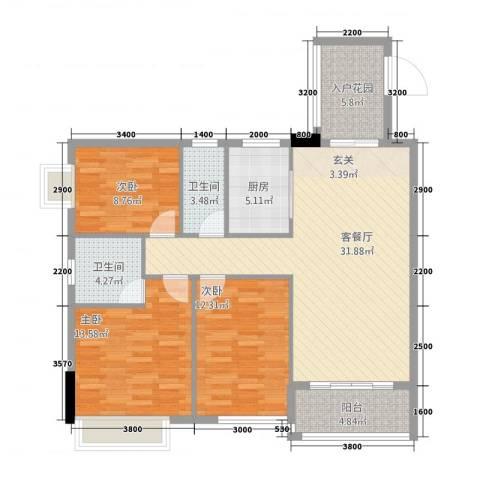 公园1号3室1厅2卫1厨113.00㎡户型图