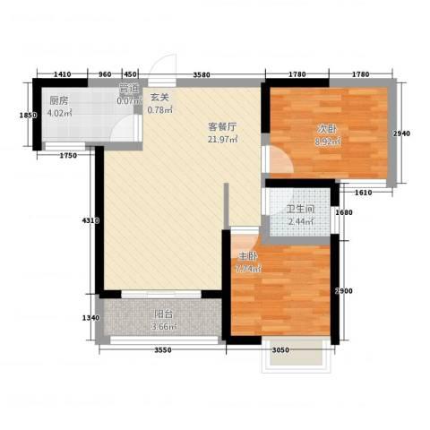 未来城2室1厅1卫1厨48.83㎡户型图