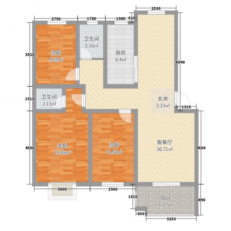 禾园・清华坊114.10㎡K户型3室2厅2卫1厨