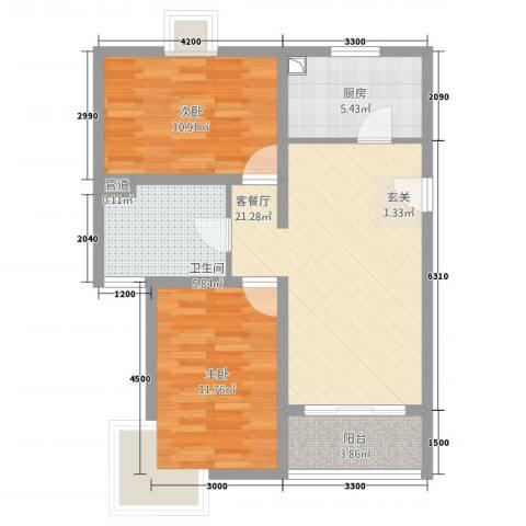 凤凰公社2室1厅1卫1厨59.41㎡户型图