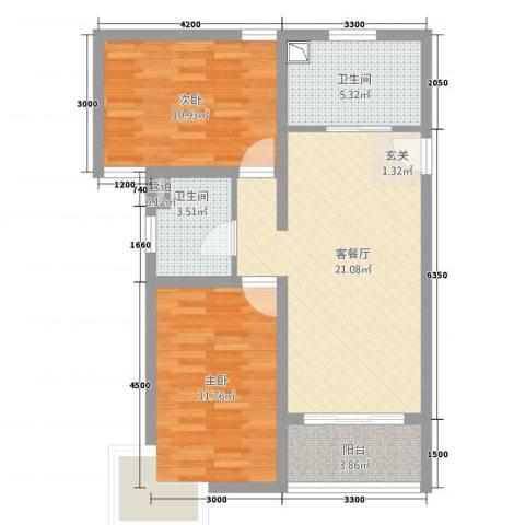 凤凰公社2室1厅2卫0厨56.71㎡户型图