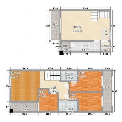 中力广场3室1厅2卫1厨144.00㎡户型图